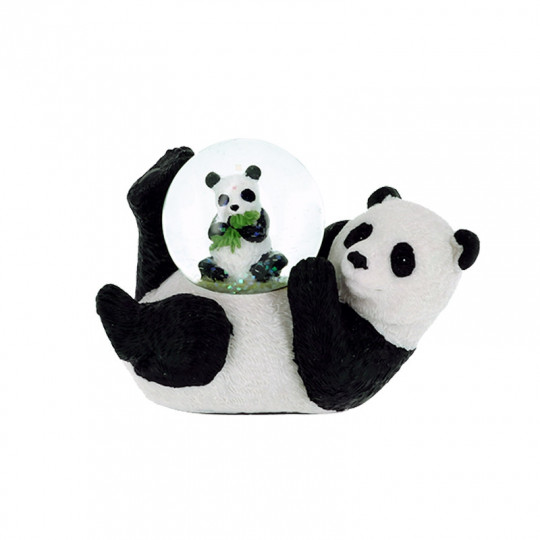 Boule neige panda allongé et son bébé