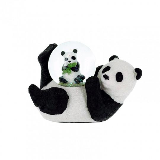 Boule neige panda et son bébé