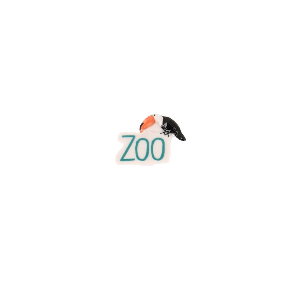 """Fève Beauval lettres """"ZOO"""" toucan"""