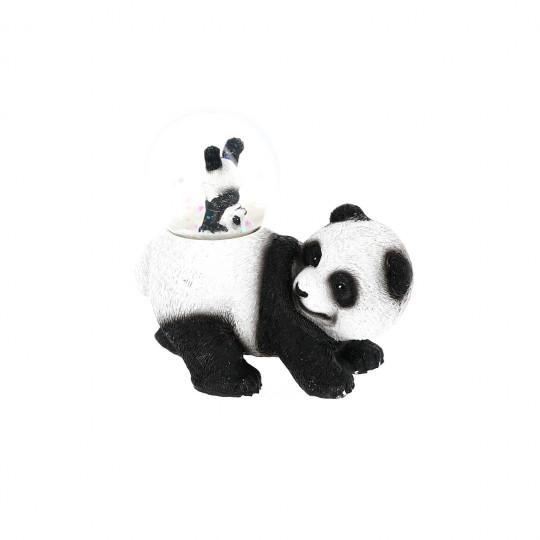 Boule neige panda debout et son bébé