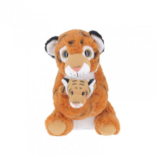 Peluche tigre jaune Jambi et son bébé