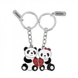 Porte-clé panda duo coeur